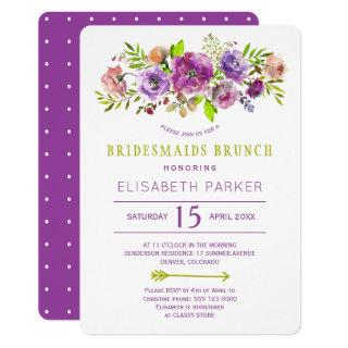 Boho rustic purple green floral bridesmaids brunch invitation
