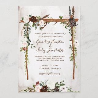Boho Rustic Wood & Floral Arch Canopy Wedding Invitation