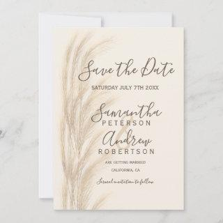 Boho summer pampas grass save the date wedding