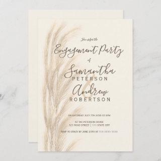 Boho summer pampas grass watercolor engagement Invitations