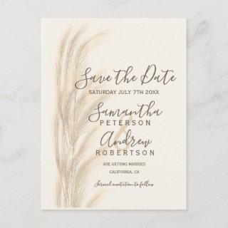 Boho summer pampas grass watercolor save the date announcement postcard