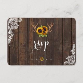 Boho Sunflowers Antlers Wood Lace RSVP Invite