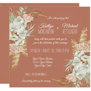 BOHO Terra Cotta Orchid Floral Pampas Palm Foliage Invitations