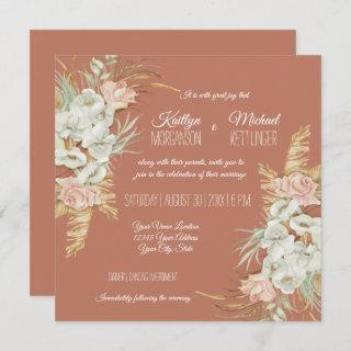 BOHO Terra Cotta Orchid Floral Pampas Palm Foliage Invitation