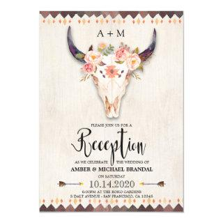 Boho Tribal Floral Antlers Skull Reception Only Invitations