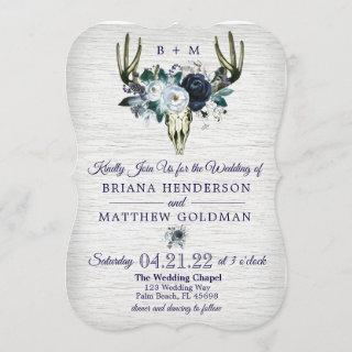 Boho Tribal Floral Antlers Wedding Invitations Navy