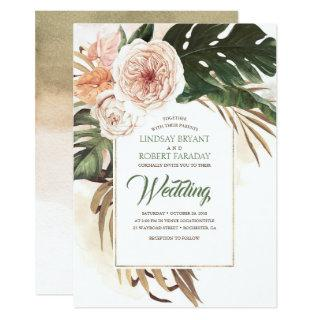 Boho Tropical Floral Desert Wedding Invitations