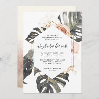 Boho Tropical Floral with Geometric Frame Wedding Invitation
