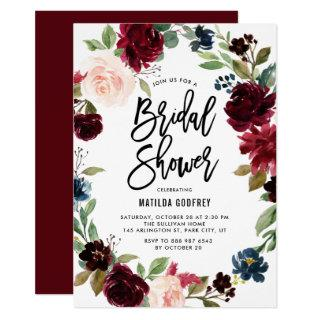 Boho Watercolor Autumn Floral Wreath Bridal Shower Invitation