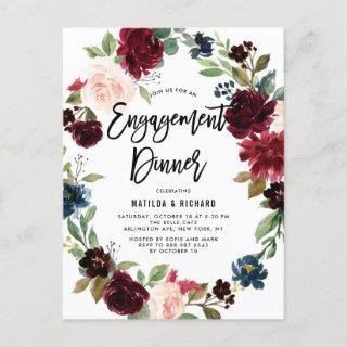Boho Watercolor Autumn Wreath Engagement Dinner Invitations Postcard
