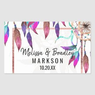 Boho Watercolor Dreamcatcher Rose Gold Wedding Rectangular Sticker