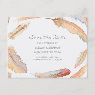 Boho Watercolor Feathers Save the Date Announcement Postcard