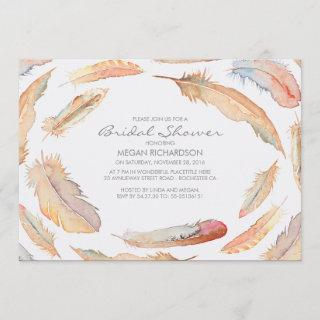 boho watercolor feathers tribal bridal shower