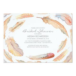 boho watercolor feathers tribal bridal shower Invitations