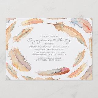 boho watercolor feathers tribal engagement party