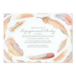 boho watercolor feathers tribal engagement party Invitations