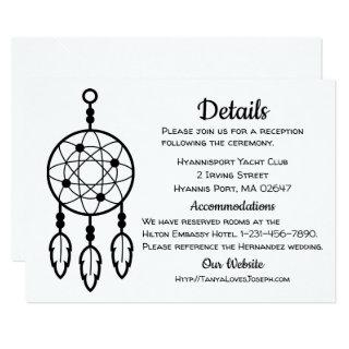 Boho Wedding Details Dreamcatcher Tribal Black Invitations