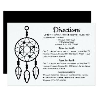 Boho Wedding Directions Dreamcatcher Black Details Invitations