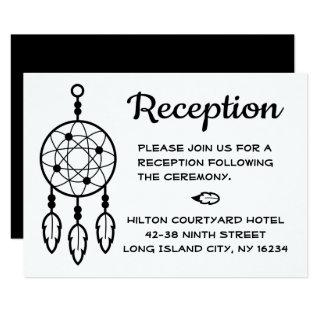Boho Wedding Reception Dreamcatcher Black White Invitations