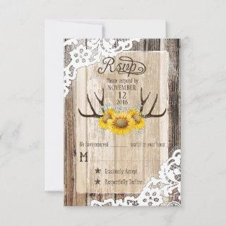 Boho Wood Sunflower Antlers Lace Rustic RSVP Card