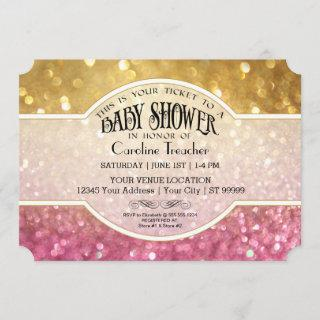 Bokeh Baby Movie Premier Ticket Style Pink Sparkle Invitations
