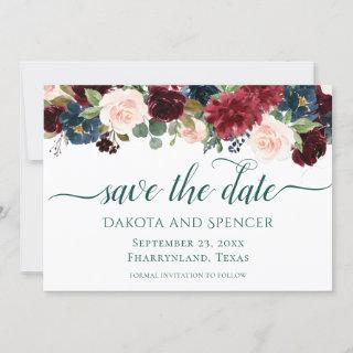 Bold Floral | Botanical Watercolor Garland Wreath Save The Date