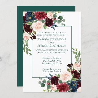 Bold Floral | Watercolor Botanical Wreath Wedding Invitation