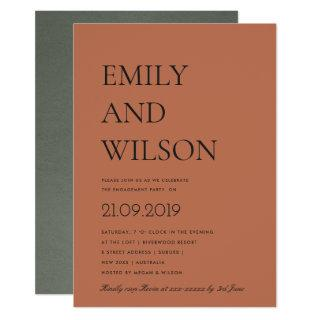BOLD MINIMAL RUST ORANGE TYPOGRAPHY ENGAGEMENT INVITATION