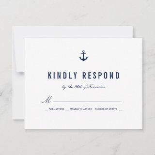 Bold Nautical Theme Navy Stripes RSVP