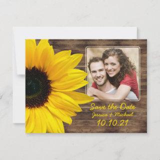 Bold Sunflower Wood Photo Wedding Save the Date Announcement