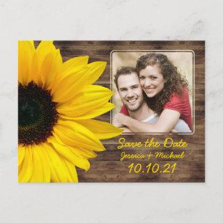 Bold Sunflower Wood Photo Wedding Save the Date Announcement Postcard