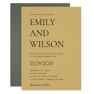 BOLD YELLOW OCHRE MUSTARD TYPOGRAPHY WEDDING INVITATION