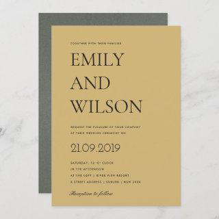 BOLD YELLOW OCHRE MUSTARD TYPOGRAPHY WEDDING Invitations