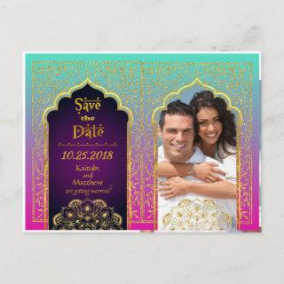 Bollywood Arabian Nights Save the Date Announcement Postcard