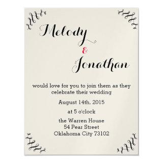 Booklovers Wedding Invitation with red ampersand