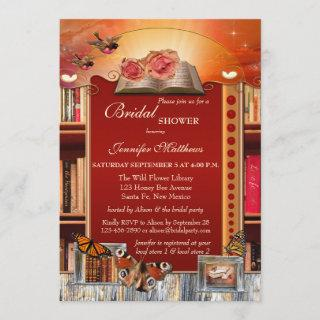 Books and Butterflies Bridal Shower Invitations