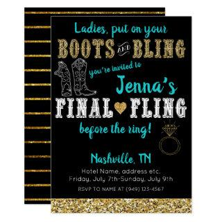 Boots and Bling Country Western Nashville Party Invitation