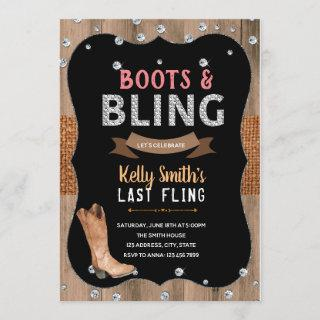Boots and bling theme party Invitations