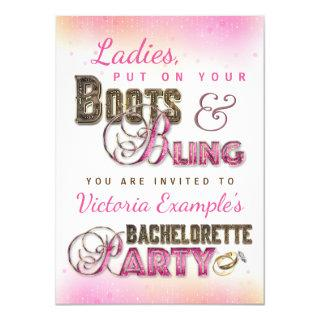 Boots Bling Bachelorette Party Invitations