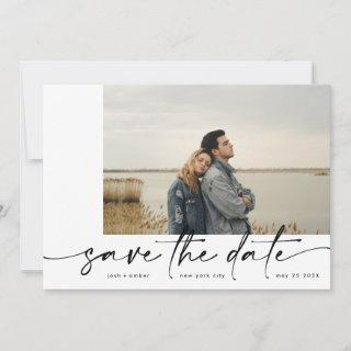 Bordered | Modern Simple White Photo Black Onyx Save The Date