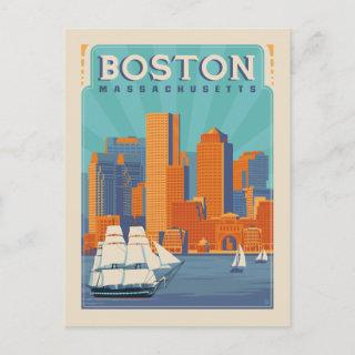Boston, Massachussetts | Save the Date Announcement Postcard
