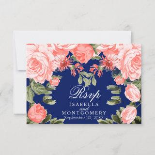 Botanical Dark Blue and Coral Flower - RSVP