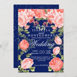 Botanical Dark Blue and Coral Flower - Wedding Invitations