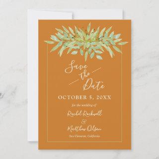 Botanical Foliage on Ochre Save the Date Cards