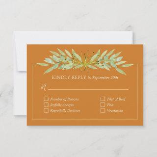 Botanical Foliage on Ochre Wedding RSVP Cards