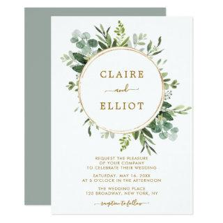 Botanical Gold Greenery Wedding Invitations