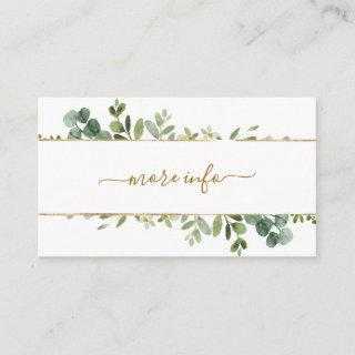 Botanical Gold Greenery Wedding More Info Enclosure Card
