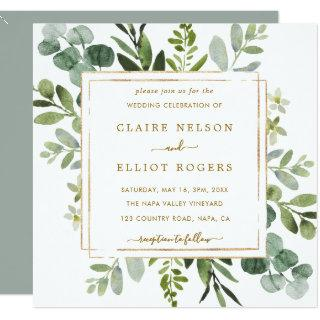 Botanical Gold Greenery Wedding Square Invitations