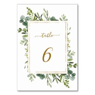 Botanical Gold Greenery Wedding Table Number