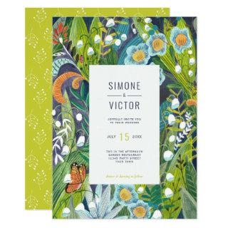 Botanical Green Lilly of the Valley Floral Wedding Invitations